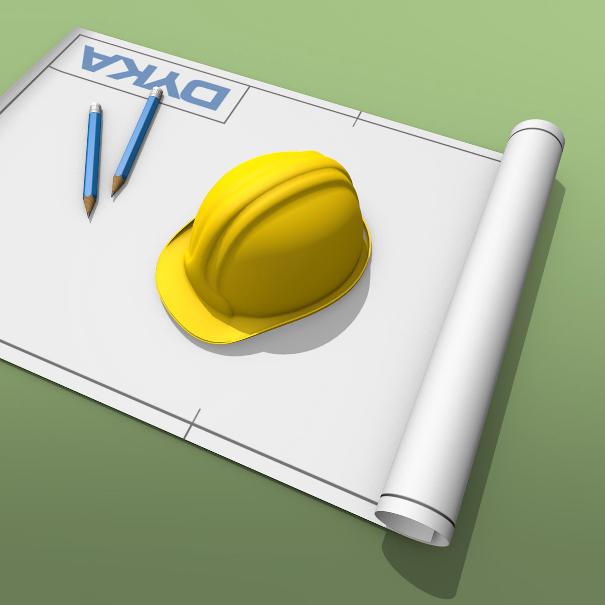 Hard hat with a construction drawing and 2 pencils. Icon for DYKA plastics