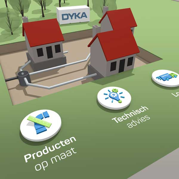 DYKA infographic huisjes met logo's op de voorgrond