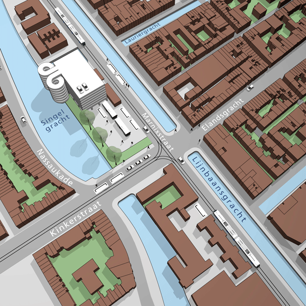 3D wayfinding Amsterdam kaart parkeergarage Elandsgracht