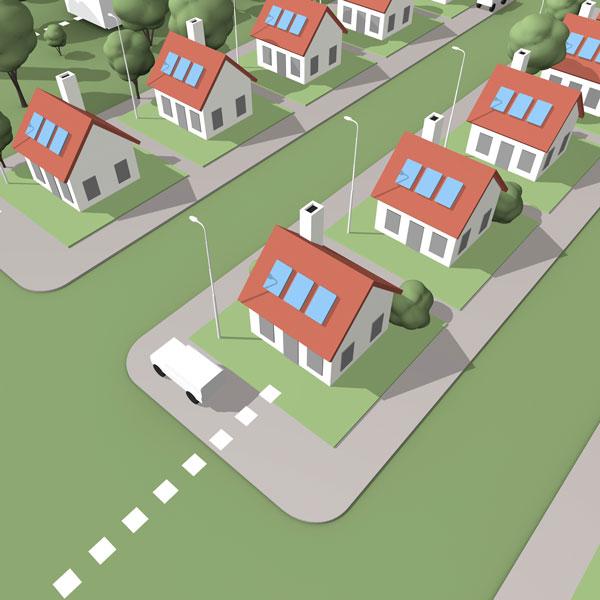 heldere infographic van een woonwijk met eenvoudige huizen met zonnepanelen