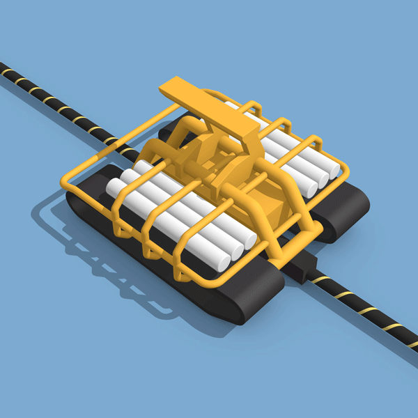 Subsea ROV trenchformer illustration with blue background