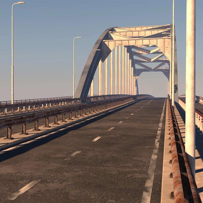 Artis impression van de bestaande Lekbrug bij Vianen