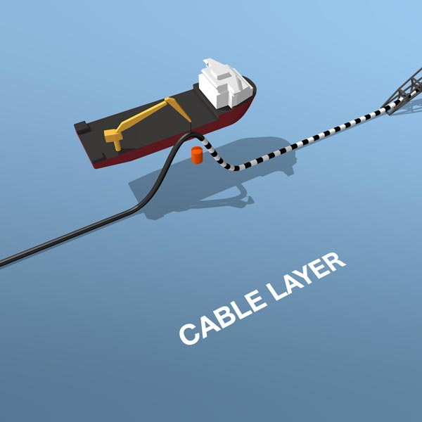 Infographic of a cable laying vessel with a cable joint