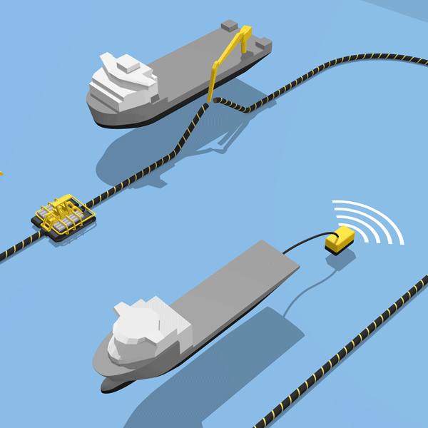 informatieve illustratie met daarop 2 schepen die een kabel op de zeebodem leggen