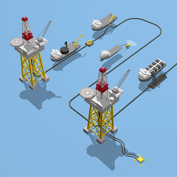 Isometric oil infographic with 2 oil rigs and subsea cable laying vessels for Bosakalis Subsea Cables & Flixibles