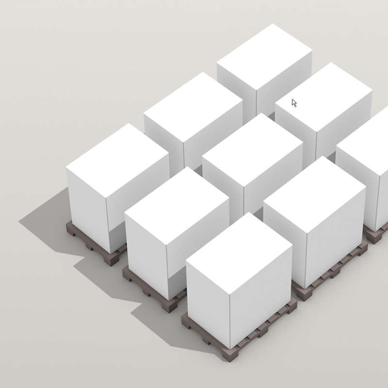 isometric production process 3D infographic 9 pallets in a row