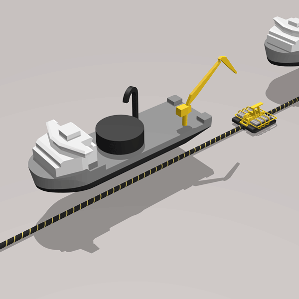 Cable laying vessel infographic with ROV