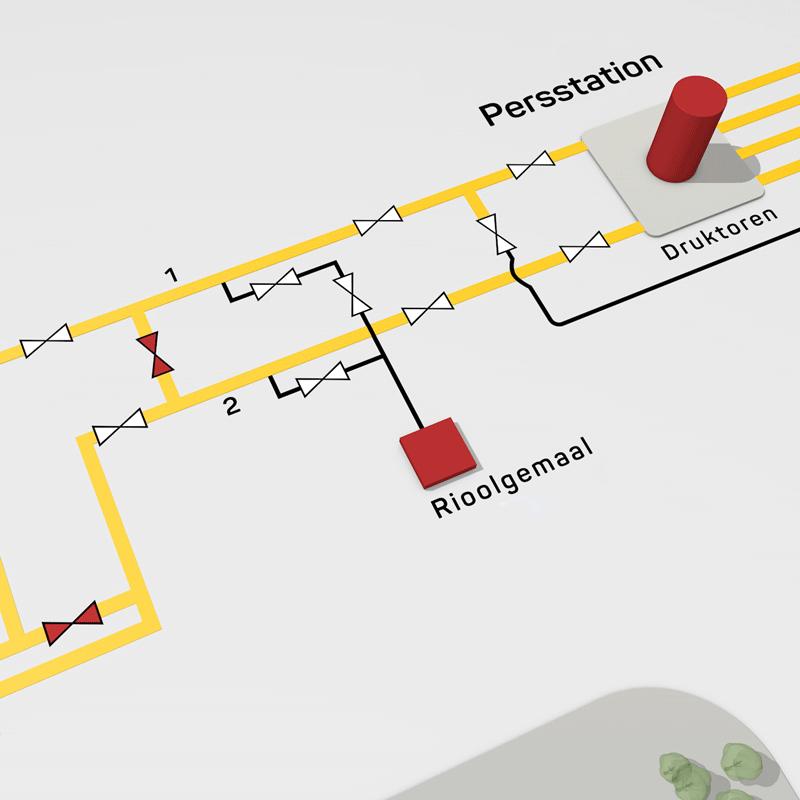 3D kaart die een schematisch overzicht laat zien van een riolerings stelsel.