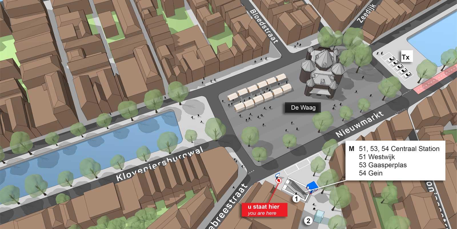 3D kaart van de Nieuwmarkt in Amsterdam - wayfinding project voor Paul Janssen imagineering