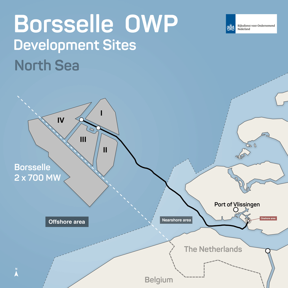Offshore Windfarm Map Borssele - Development Site North Sea map