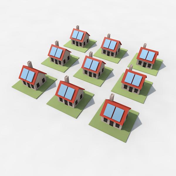 Infographic met 9 huisejes met zonnepanlen op het dak. Vereenvoudigde weergave van een woonwijk