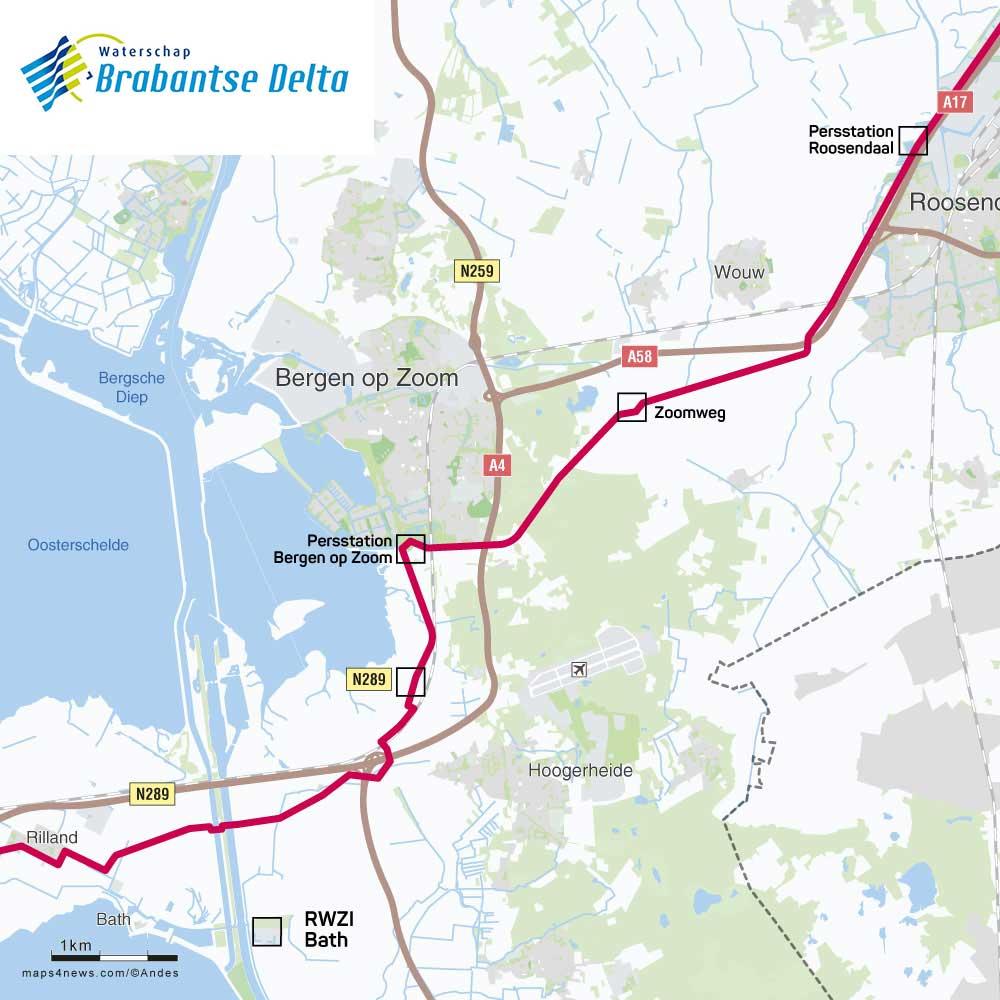 Route Afvalwaterpersleiding (AWP) Brabantse Delta traject Moerdijk Bath
