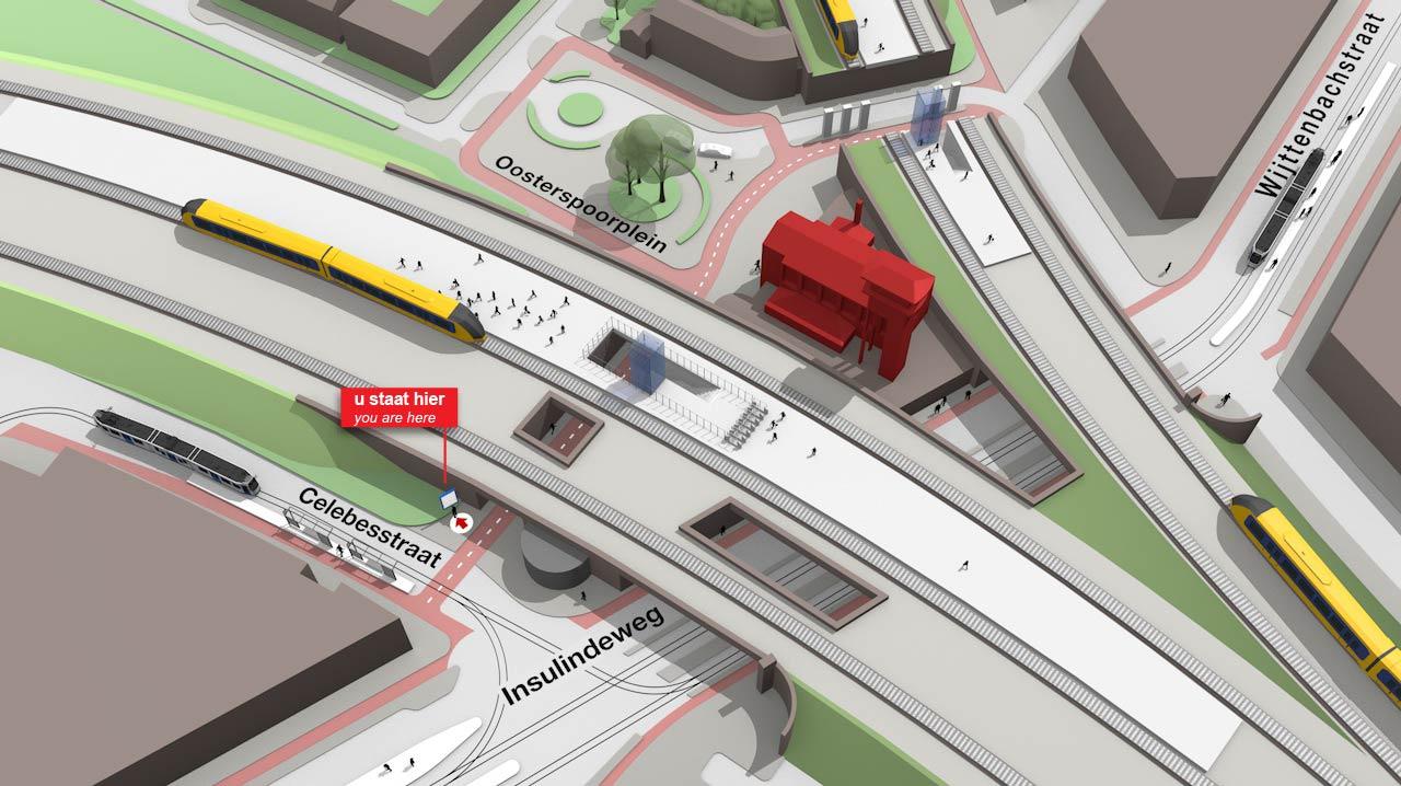 3D kaart van Amsterdam Muiderpoort by Lex de Prieelle - Studio Lex