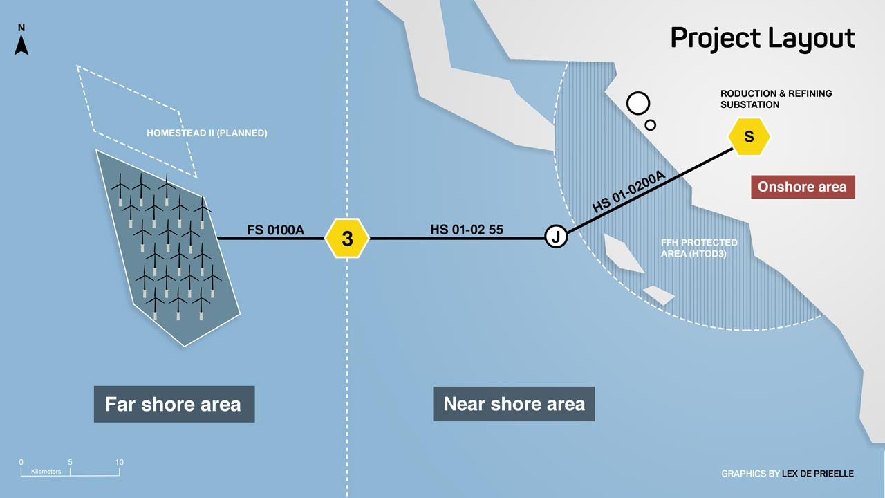 Offshore windfarm park layout map by Studio Lex