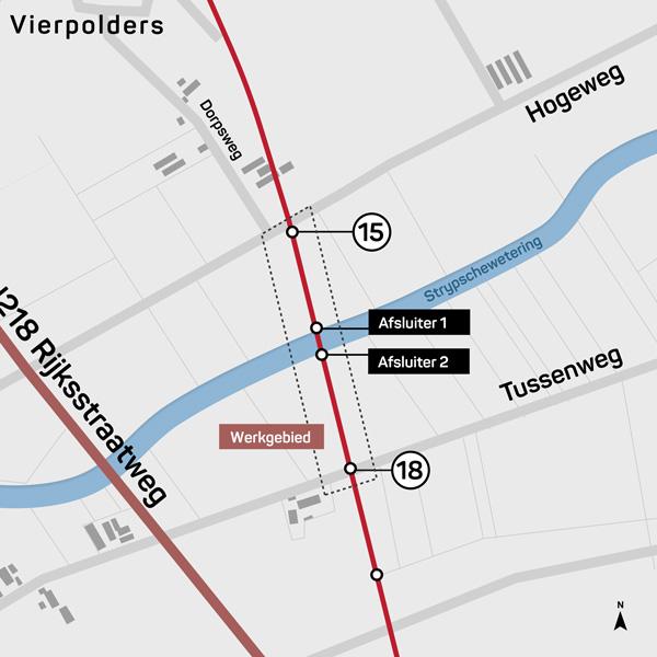Kaart met het werkgebied van een ondergronds infra project