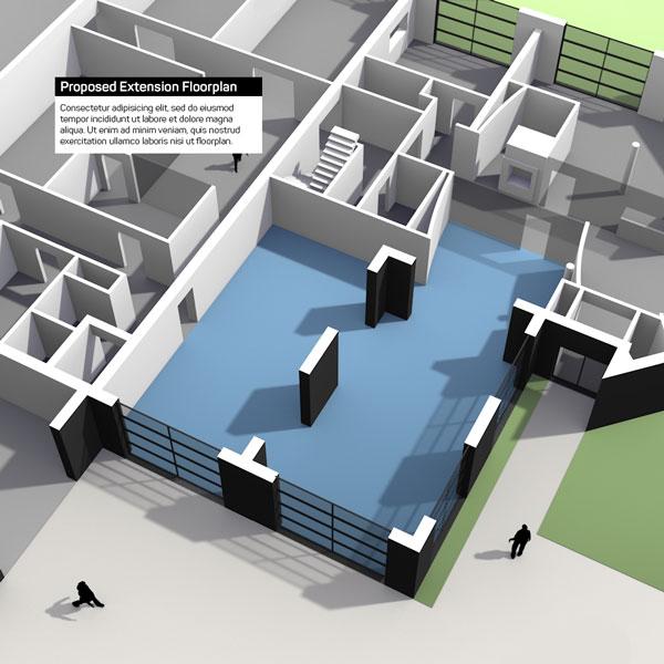 Illustratie voor een aanbesteding voorstel voor een kantoor uitbreiding
