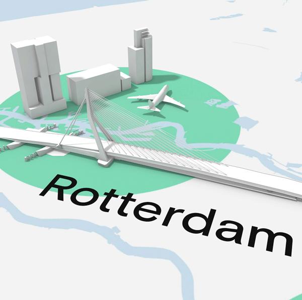 3D kaart van Brabant met detail Rotterdam. In beeld de Erasmusbrug en de Kop van Zuid als icoon