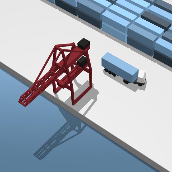 3D infographic haven van Rotterdam met containers hijskraan en vrachtwagen