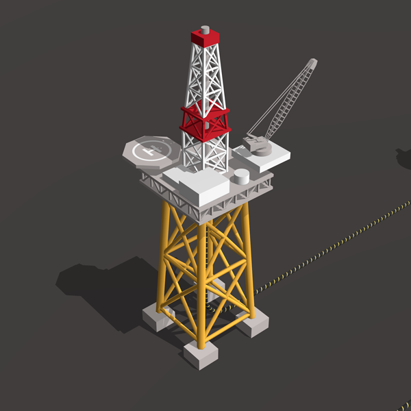 Isometric icon of an oil rig platform