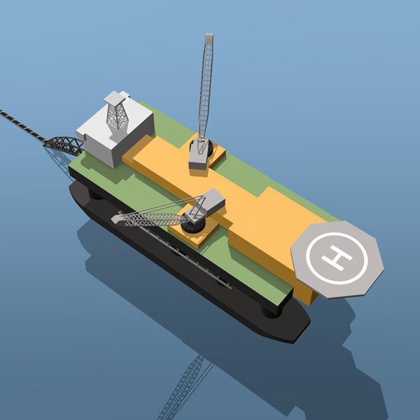 Isometric icon offshore vessel