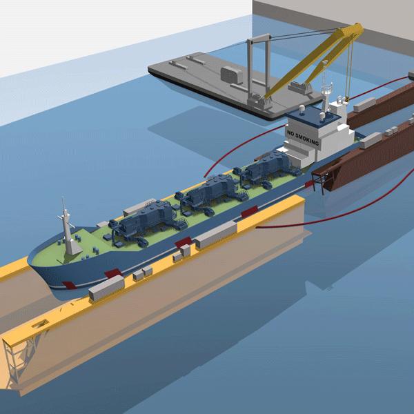 informatieve illustratie die laat zien hoe een schip wordt geborgen dat is gezonken in een Poolse haven.